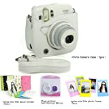 CAIUL Compatible Mini 25 Camera Case Bundle with Selfie Lens, Frames & Film Stickers for Fujifilm Instax Mini 25 26 (White, 4 Items)
