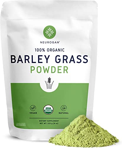 Neurogan Organic Barley Grass Powder 8 oz – 100 USDA Organic, Rich in Fiber, Antioxidants, Enzymes, Protein Chlorophyll – Best Vegan Superfood for Juice Smoothie – Non-GMO, Non-Irradiated