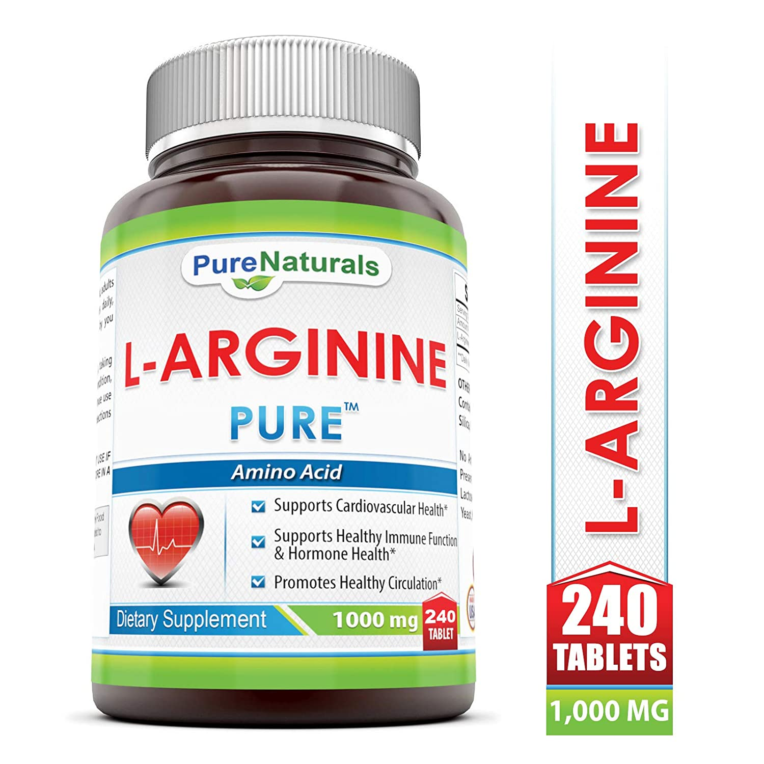 Pure Naturals L-Arginine 1000 Mg, 240 Tablets Supports Cardiovascular Health* Supports Healthy Immune Function Hormone Health* Promotes Healthy Circulation*