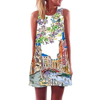 Amazon.com  Auwer 2019 Womens Sundresses Floral T-Shirt Dress Summer ... f4686468a