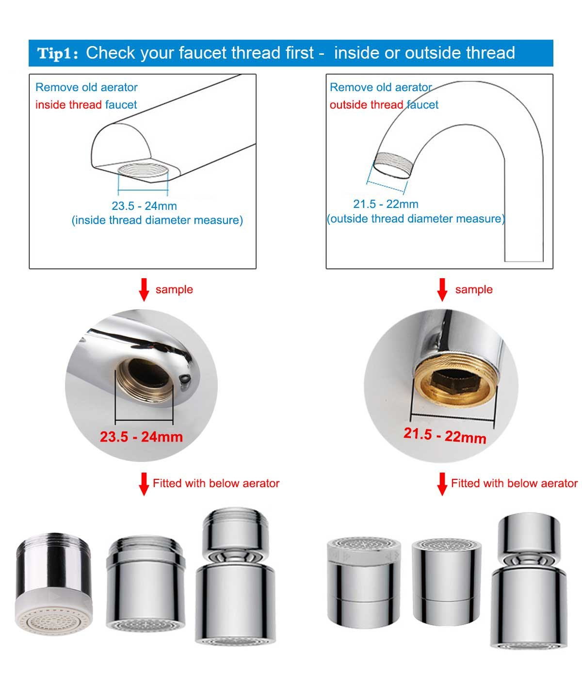 Waternymph Hibbent Dual-function 2-Flow Faucet Aerator - Low Flow ...