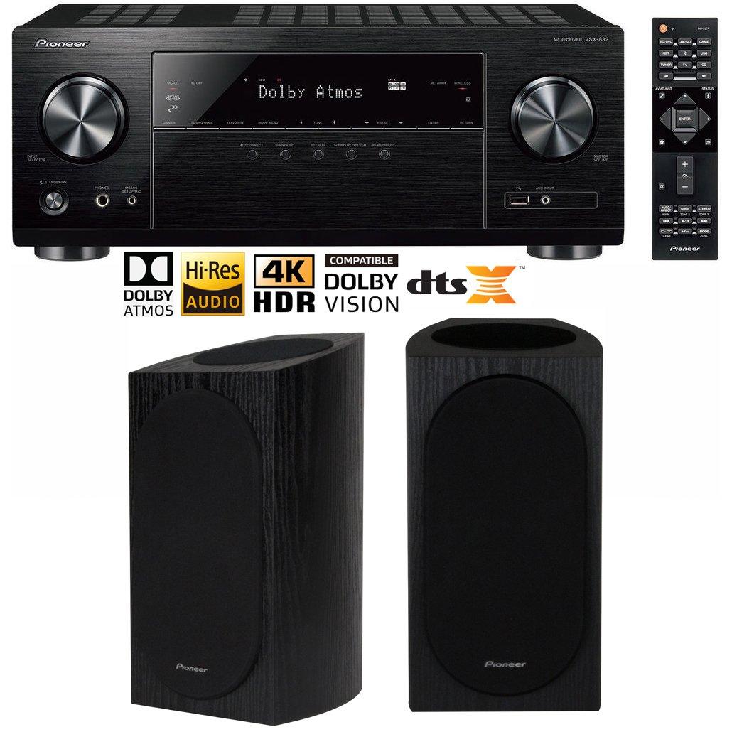 Pioneer VSX-832 5.1 Channel Network AV Receiver UHD Pass-through HDCP 2.2 Home Theater Bundle Including Andrew Jones Designed Bookshelf Speakers (Pair)