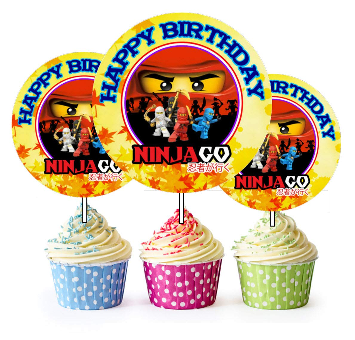 Crafting Mania LLC. 12 Happy Birthday Ninjago Inspired Party Picks, Cupcake Picks, Cupcake Toppers #1