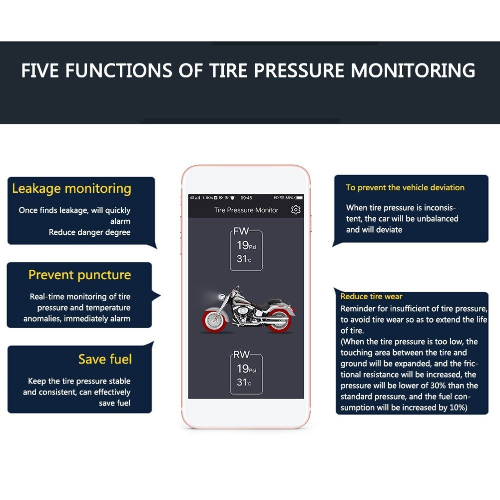 Lzcat TP200 Motorcycle Bluetooth Tire Pressure Monitoring System TPMS Mobile Phone APP Detection 2 External Sensors (Blacl) by Lzcat (Image #5)