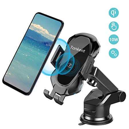 Tonkent Fast Car Wireless Charger Mount Air Vent Dashboard Phone Holder, 10W Compatible for Samsung Galaxy S9 S9 S8 S8 Note 8, 7.5W Compatible for iPhone Xs Max Xs XR X 8 8 Plus
