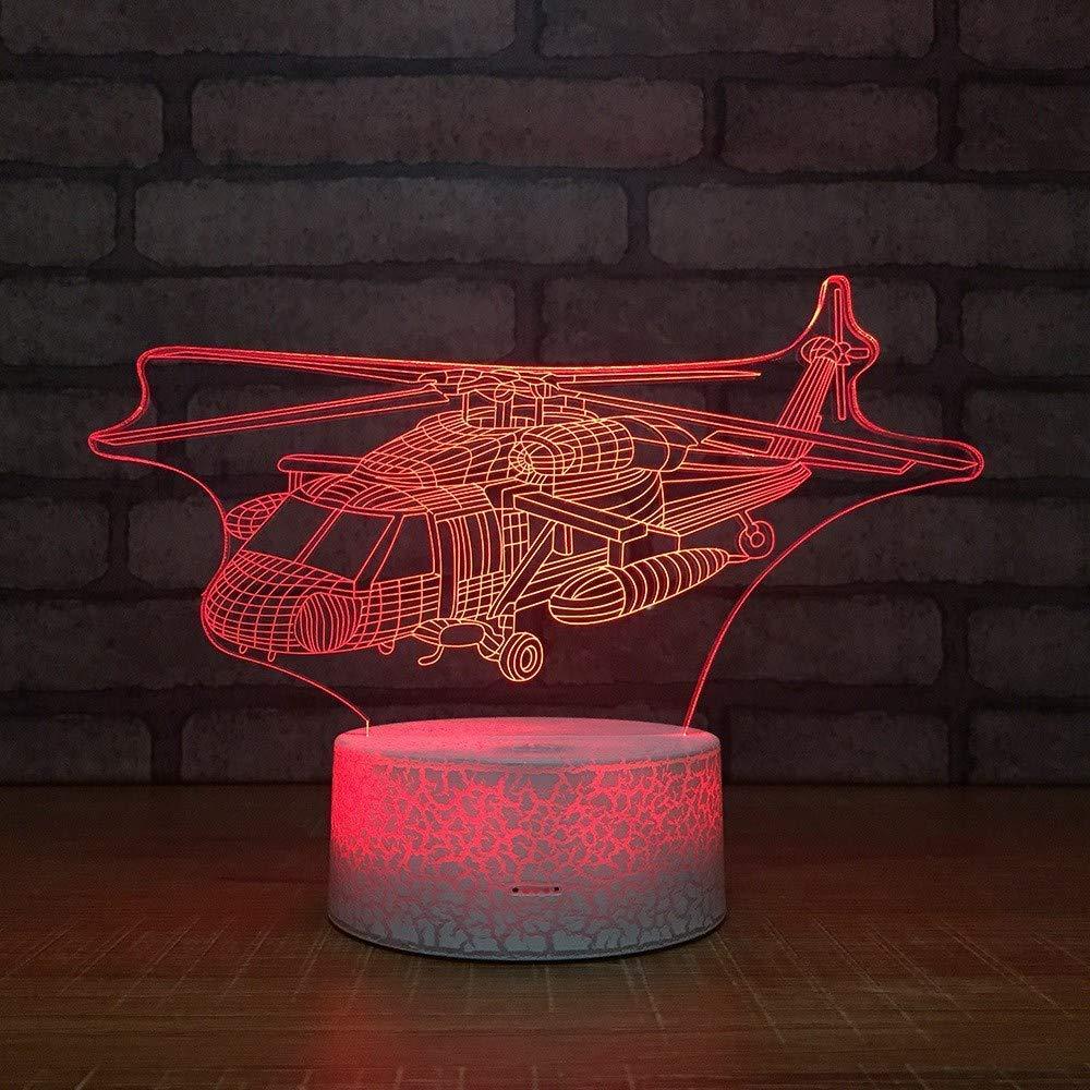 3 Pack, 3D optische Illusion Nachtlicht [Kopie] - Hubschrauber LED-Tisch Schreibtischlampe 7 Farbe automatisch wechselnden USB-Ladegerät Powerotfor Baby Schlafzimmer Dekoration Kinder Geschenk, Weihna