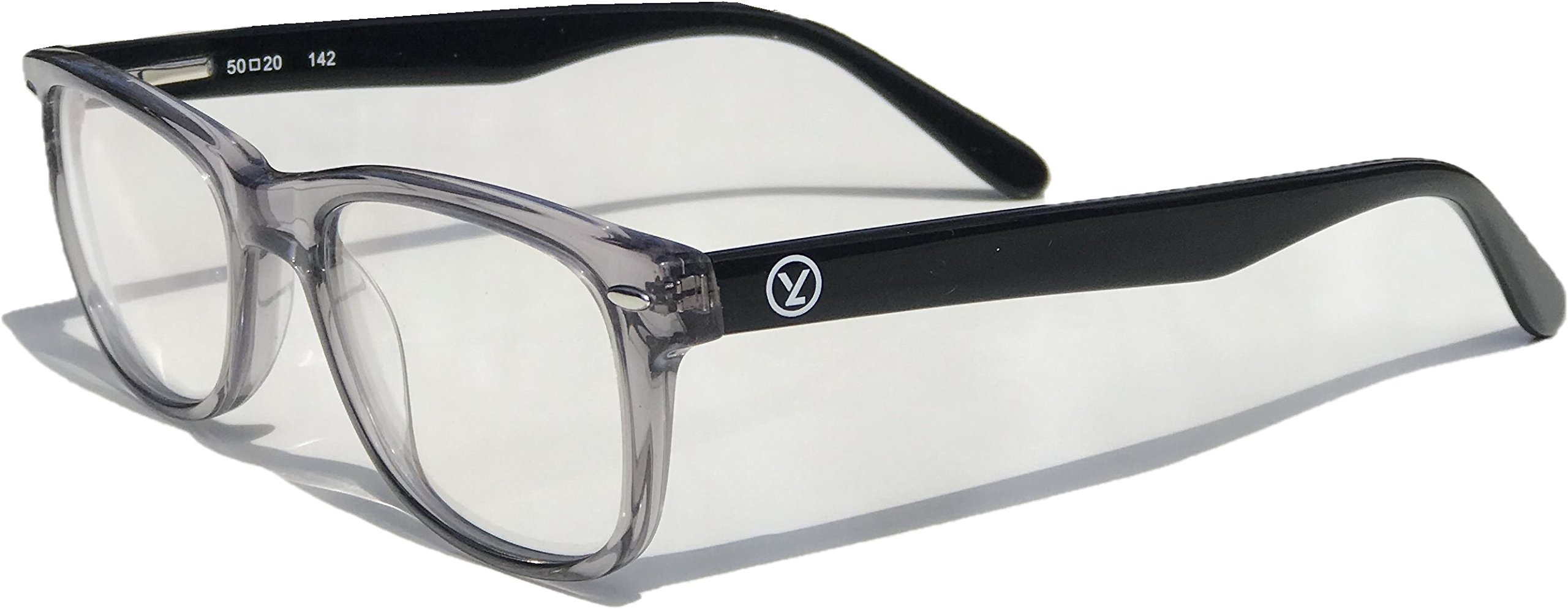 Computer Gaming/Reading/Work Glasses Anti-Blue Light Clear Lens - Reduces Eye Strain/Fatigue/Headaches – 100% UV Protection Transparent Grey Hand-made Frame with Flex Hinges by Yizmo