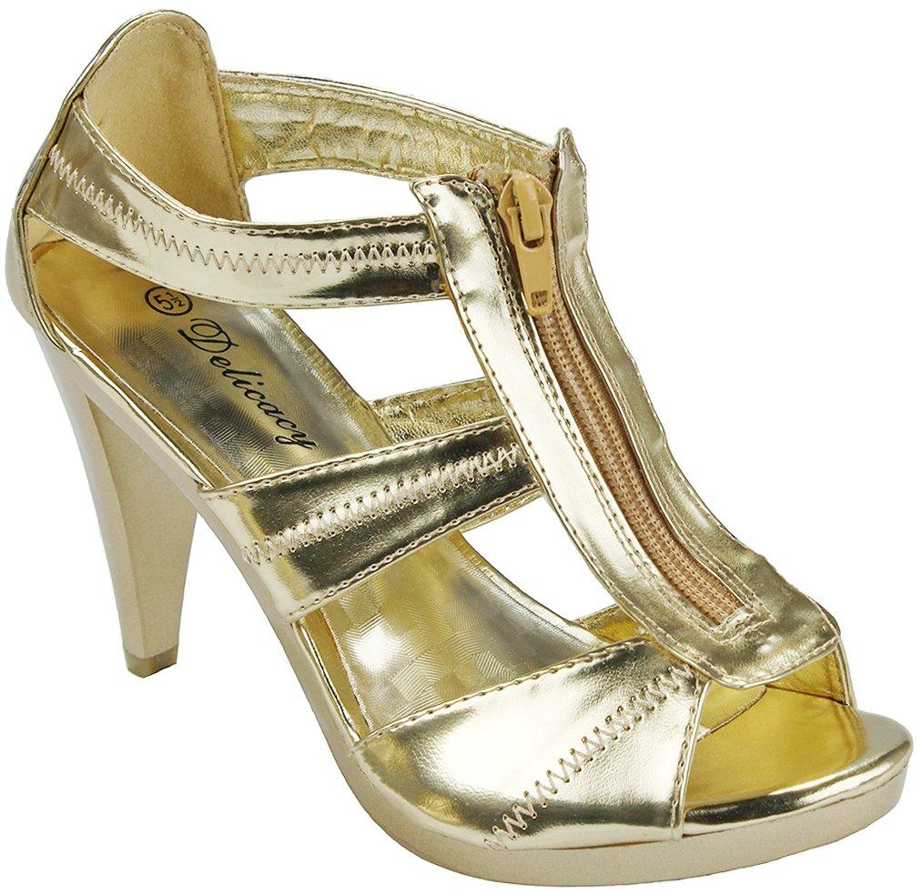 Women Strap Sparkle Rhinestone Strappy Zipper Open Toe Party Evening Dress Heels Sandal Pumps B071XB93QB 7.5 B(M) US|Gold_m9