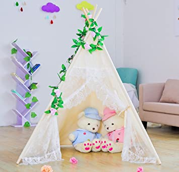 Kids Teepee TentLarge Lace Play Tent for Children Gift Outdoor and Indoor Playhouse Decoration  sc 1 st  Amazon.com & Amazon.com: Kids Teepee TentLarge Lace Play Tent for Children ...