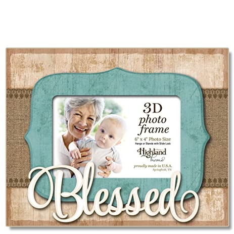 Amazon.com - Highland Home Blessed 3D Wooden Picture Frame, holds ...