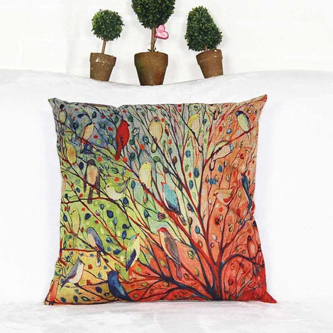 Table & Sofa Linens Cushion Cover Fashion Colorful Style Cushion Cover Three-dimensional Tree Cotton Linen Pillow Cover Cushion Cover Pillow Case Home Decor