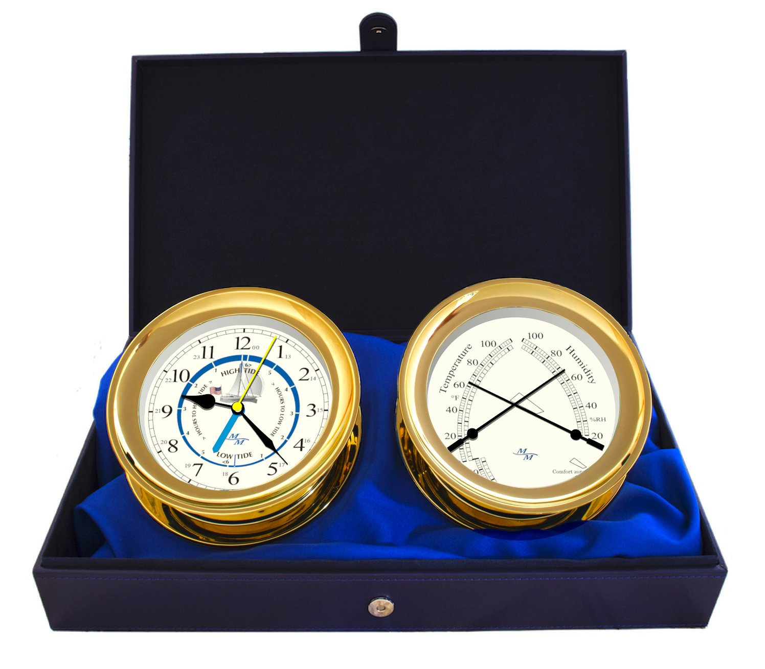 Windlass Gift Set Time & Tide Clock & Comfort Meter by Master-Mariner, Gold finish, Ivory ship dial