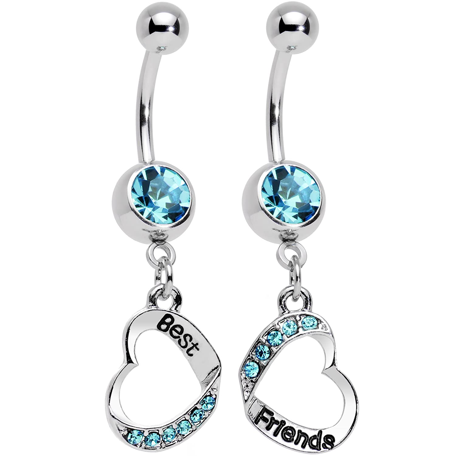 Body Candy Stainless Steel Baby Blue Accent Best and Friends Matching Heart Dangle Belly Ring Set 58622