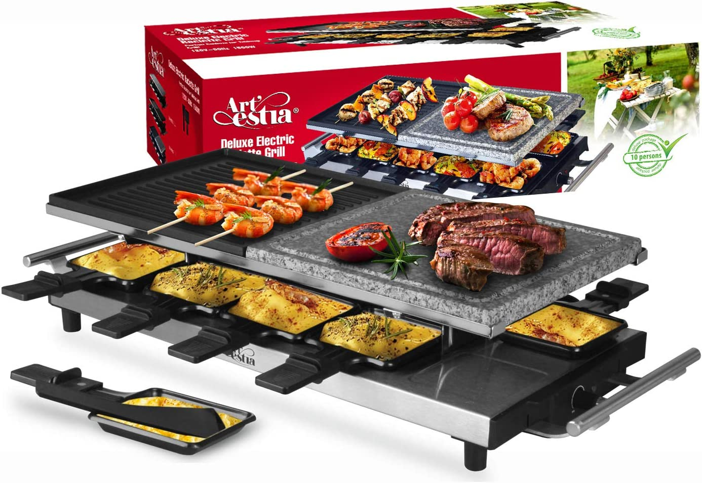 Artestia 10 Person Large Stainless Steel Electric Raclette Grill with Two Half Size Plates, High Power 1500W Stainless Steel Half Stone Half Aluminum for 10 persons