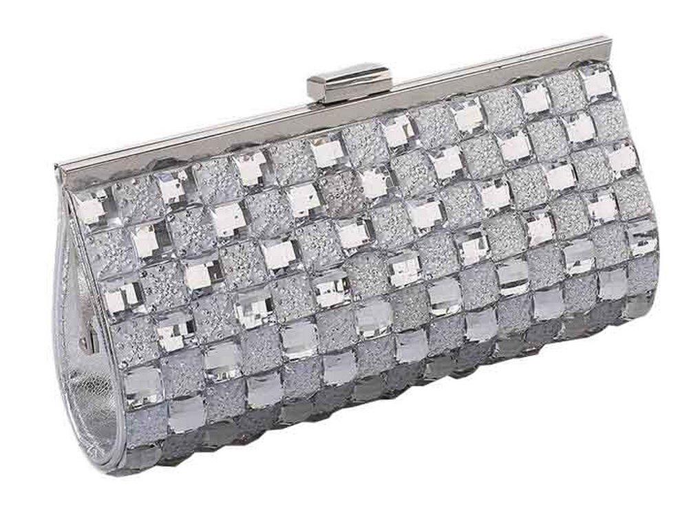 Doble cara Rhinestones bolso de embrague, con la cadena desmontable [Plata]: Amazon.es: Belleza