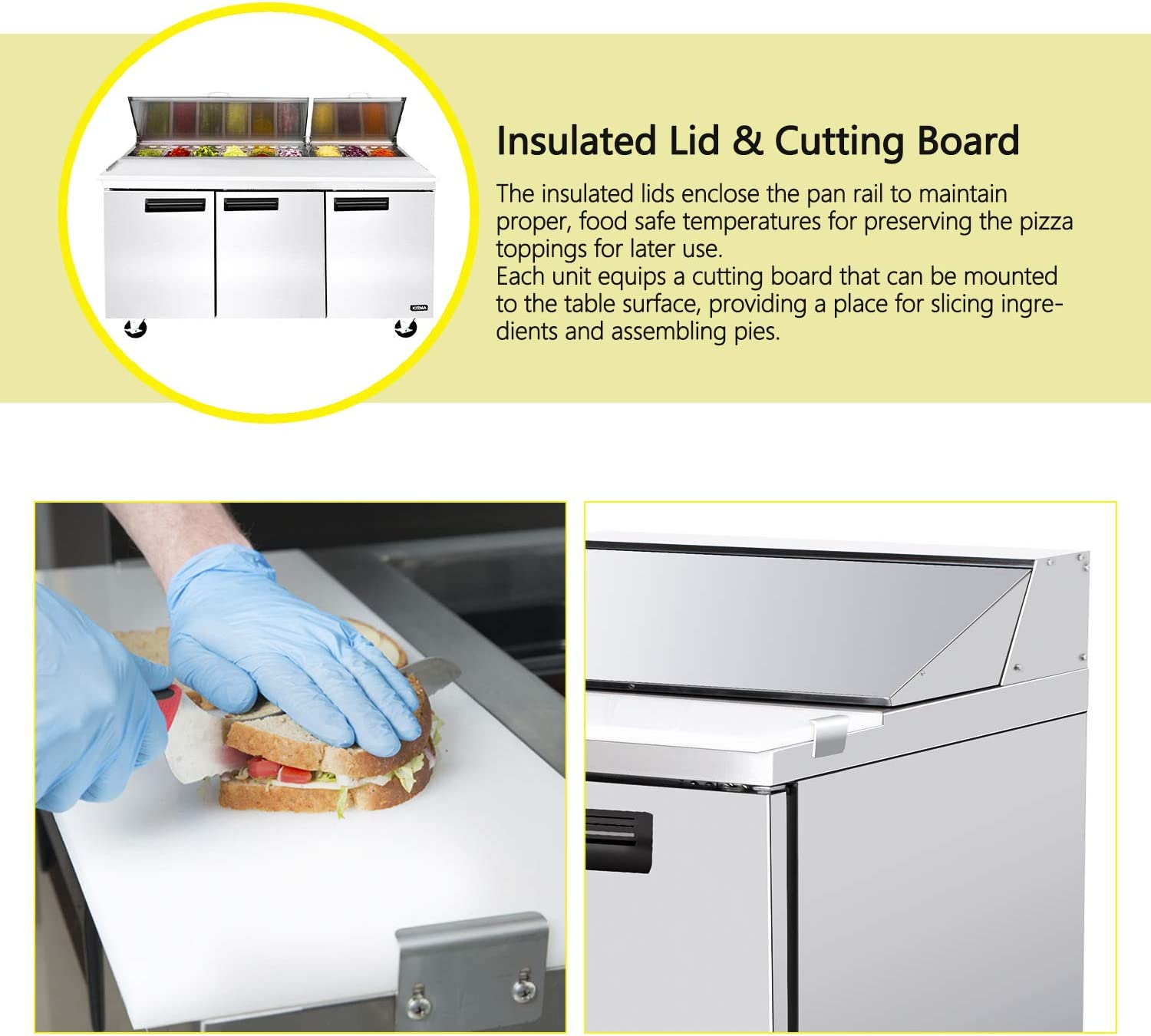 72 Inches Sandwich Salad Prep Table Refrigerator - KITMA 32.8 Cu. Ft 3 Door Food Prep Station Table with Cutting Board and 18 Pans, 33 °F - 38°F 71p8S3zyEfL