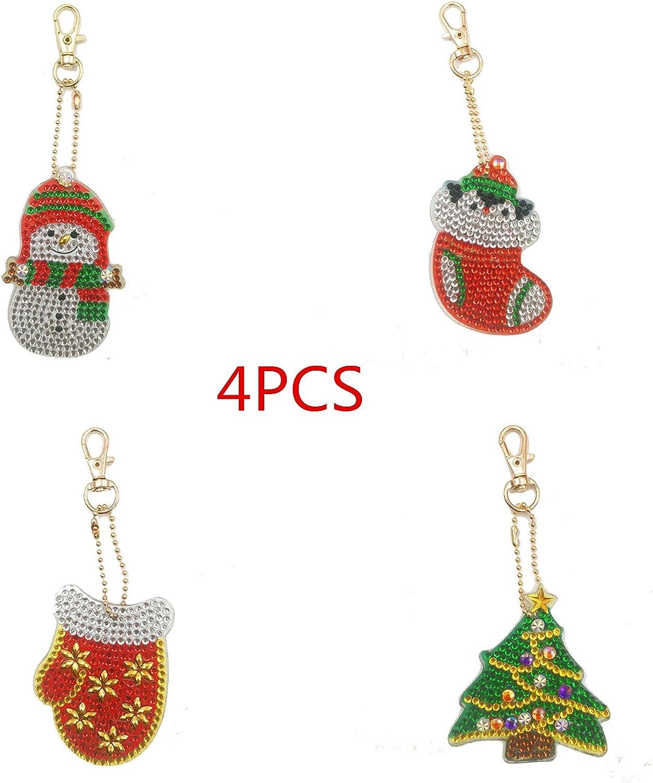 Amazon Com 4pc Cartoon Merry Christmas Key Fob Pendant Keychain