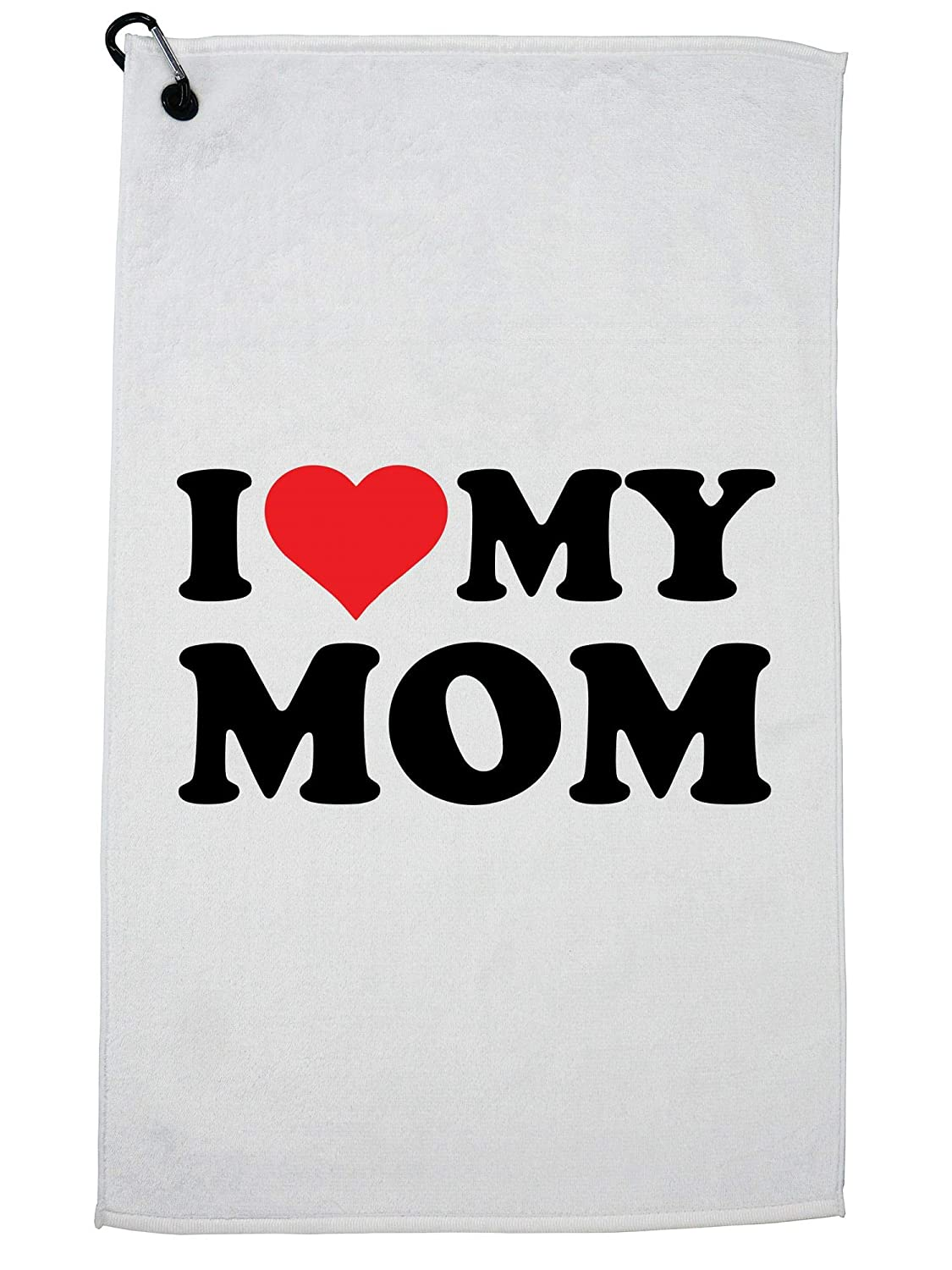 95a4d2f48 Amazon.com : Hollywood Thread I Love My Mom - Big Red Heart - Perfect  Mother Gift Golf Towel with Carabiner Clip : Sports & Outdoors