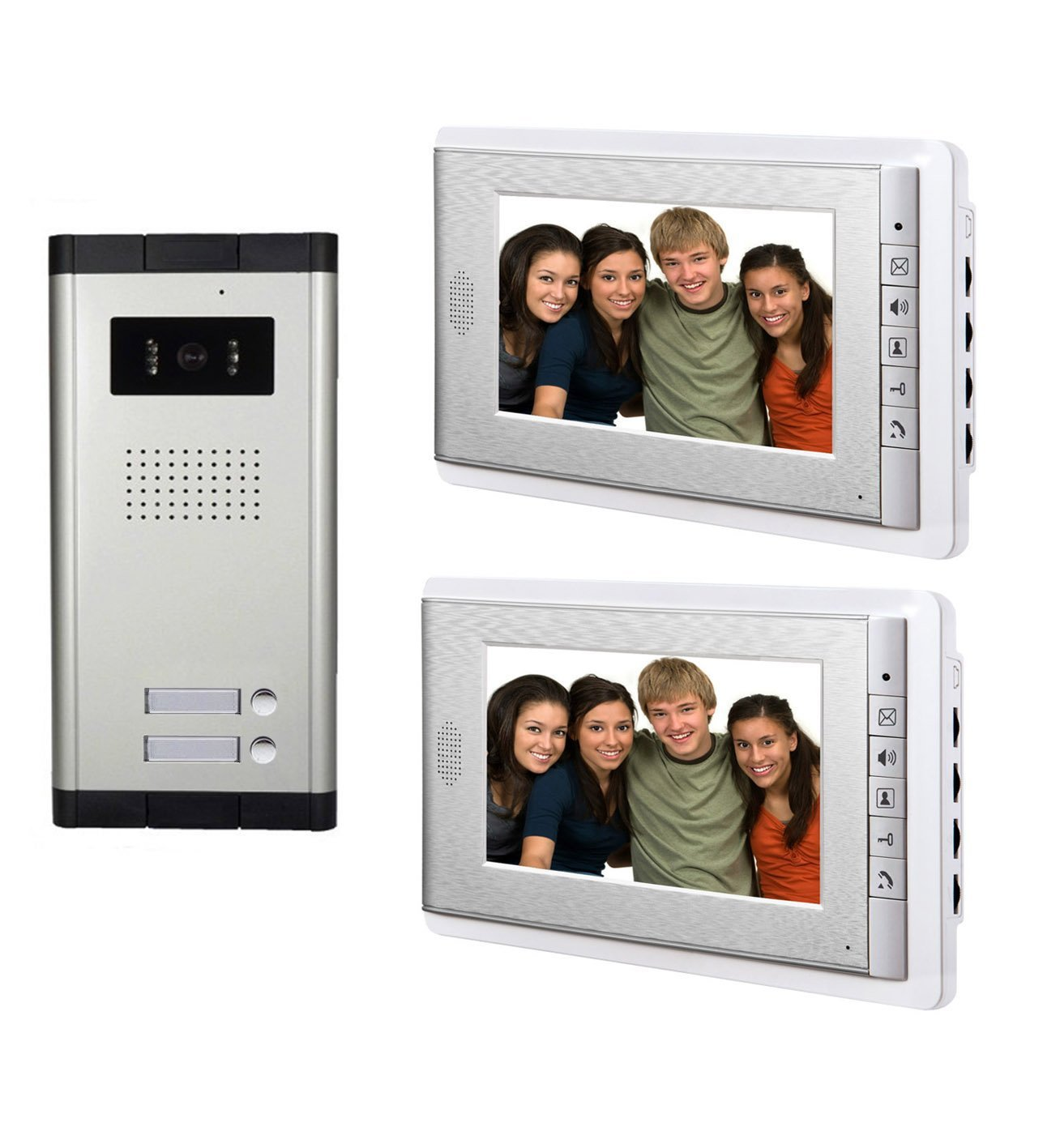 AMOCAM Wired Video Door Phone Intercom System,Video Doorbell Kits, 1 pcs Night Vision Camera, 2 pcs 7 inch LCD Monitor, for 2 Units Apartment, Support Monitoring, Unlock, Dual way Door Talking