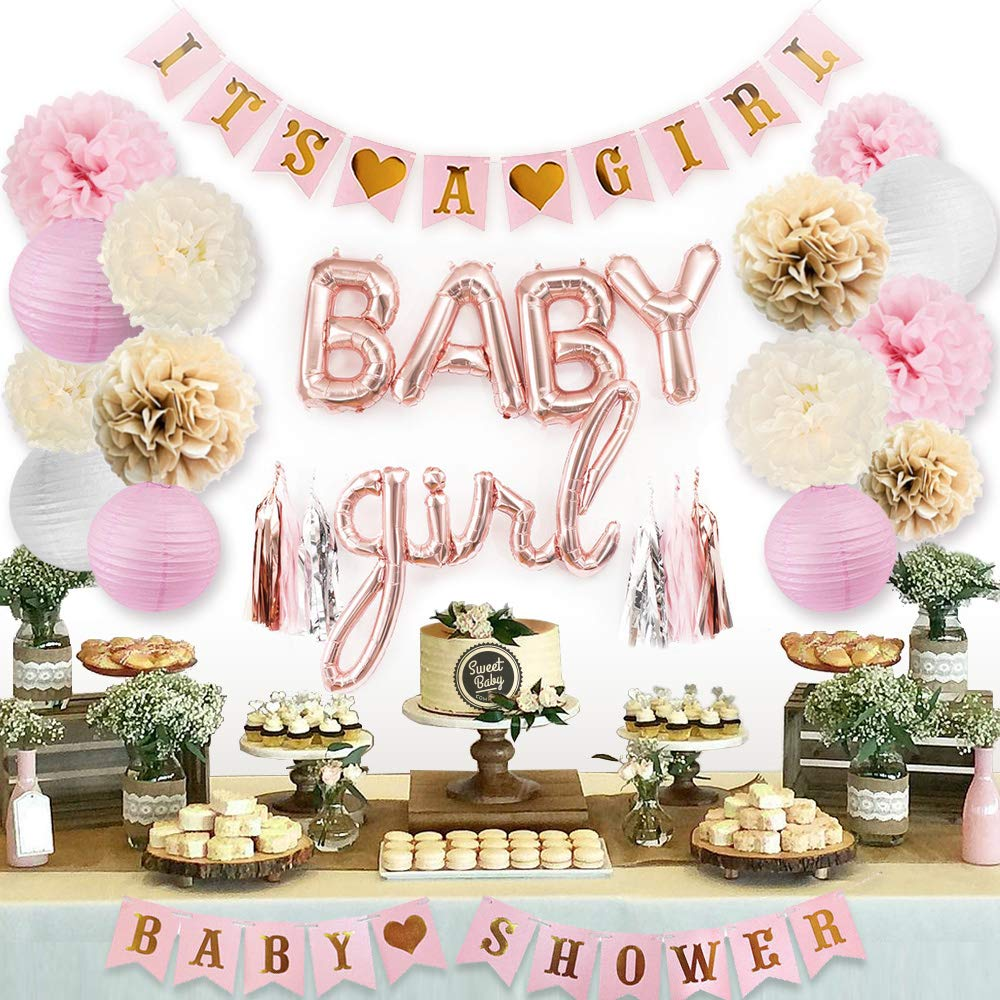 Sweet Baby Co. Pink Baby Shower Decorations For Girl With It's A Girl Banner, Baby Girl Foil Letter Balloons, Flower Pom Poms, Paper Lanterns, Tassels (Rose Gold, Pink, Ivory, Taupe, White) | Baby Shower Decorations Set by Sweet Baby Company