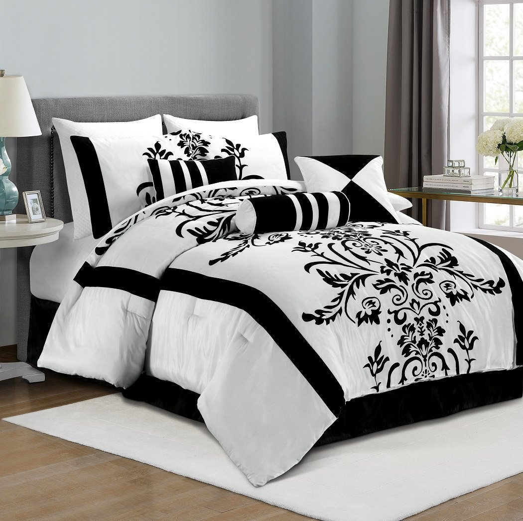 Bed sheet set black and white - Amazon Com Chezmoi Collection 7 Piece White With Black Floral Flocking Comforter Set Bed In A Bag For Queen Size Bedding 90 By 92 Inch Home Kitchen