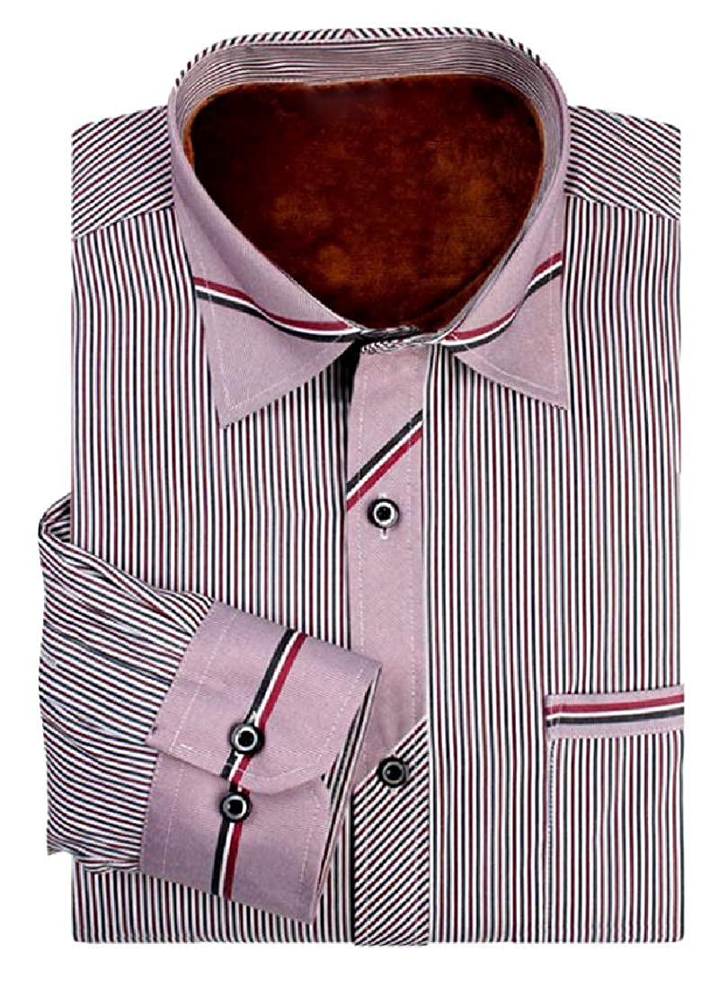 Losait Men Thickening Vertical Stripes Regular Fit Western Shirt
