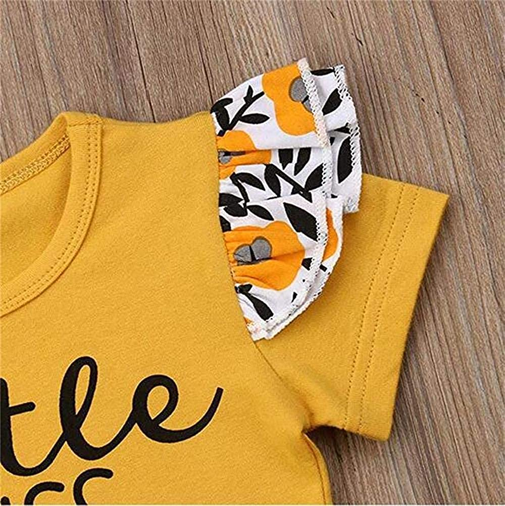 OKlady Toddler Baby Girl Summer Clothes Little Miss Sassy Pant Letter Print Short Sleeve Shirt Floral Pant Tracksuit Outfits Set