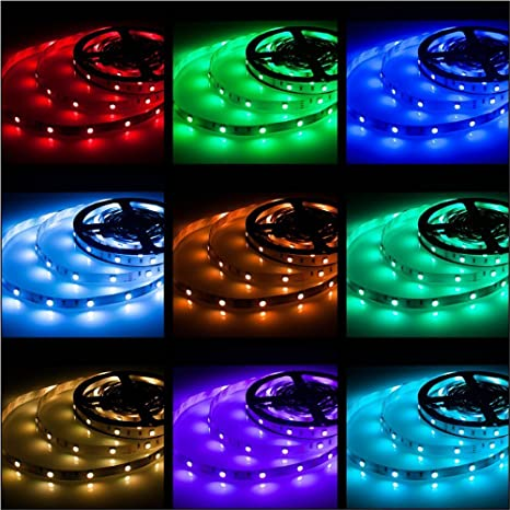 Rxment Rgb Led Strip Lights With Remote 5 Meter 16 4 Foot 5050 Rgb 150leds Full Kit Blue Led Light Strip Led Lights Strip Led Night Light Led Rope