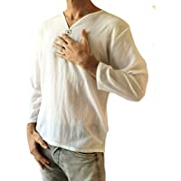 Love Quality Men's Summer T-Shirt 100% Cotton Thai Hippie Shirt V-Neck Beach Yoga Top