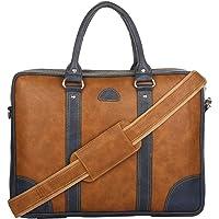 K London Artificial Leather Unisex 15.6 inches Laptop Bag Cross Over Shoulder Messenger Bag (1803_tan) (Two Tone Tan…