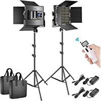 Neewer 2 Packs Advanced 2.4G 660 LED Video Light Photography Lighting Kit, Dimmable Bi-Color LED Panel with LCD Screen…