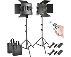 Neewer 2 Packs Advanced 2.4G 660 LED Video Light Photography Lighting Kit, Dimmable Bi-Color LED Panel with LCD Screen, 2.4G