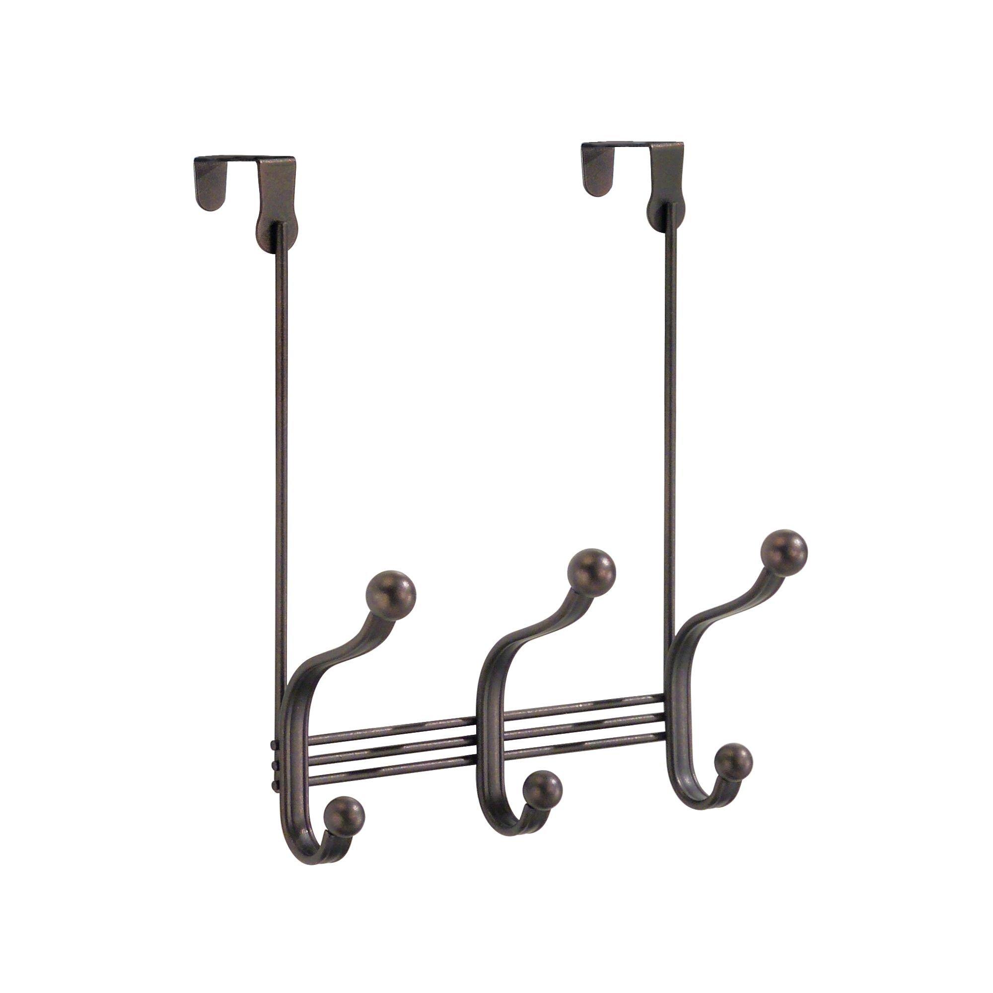 InterDesign York Lyra Over The Door 3 Dual-Hook Storage Rack for Coats, Hats, Robes, Towels – Pack of 2, Bronze product image