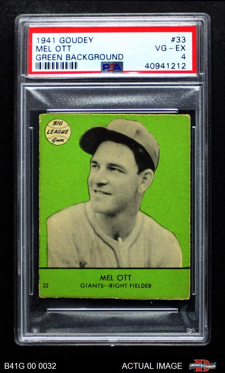 1941 Goudey # 33 Mel Ott New York Giants (Baseball Card) PSA 4 - VG/EX Giants 714HNuKEE4LSL1250_