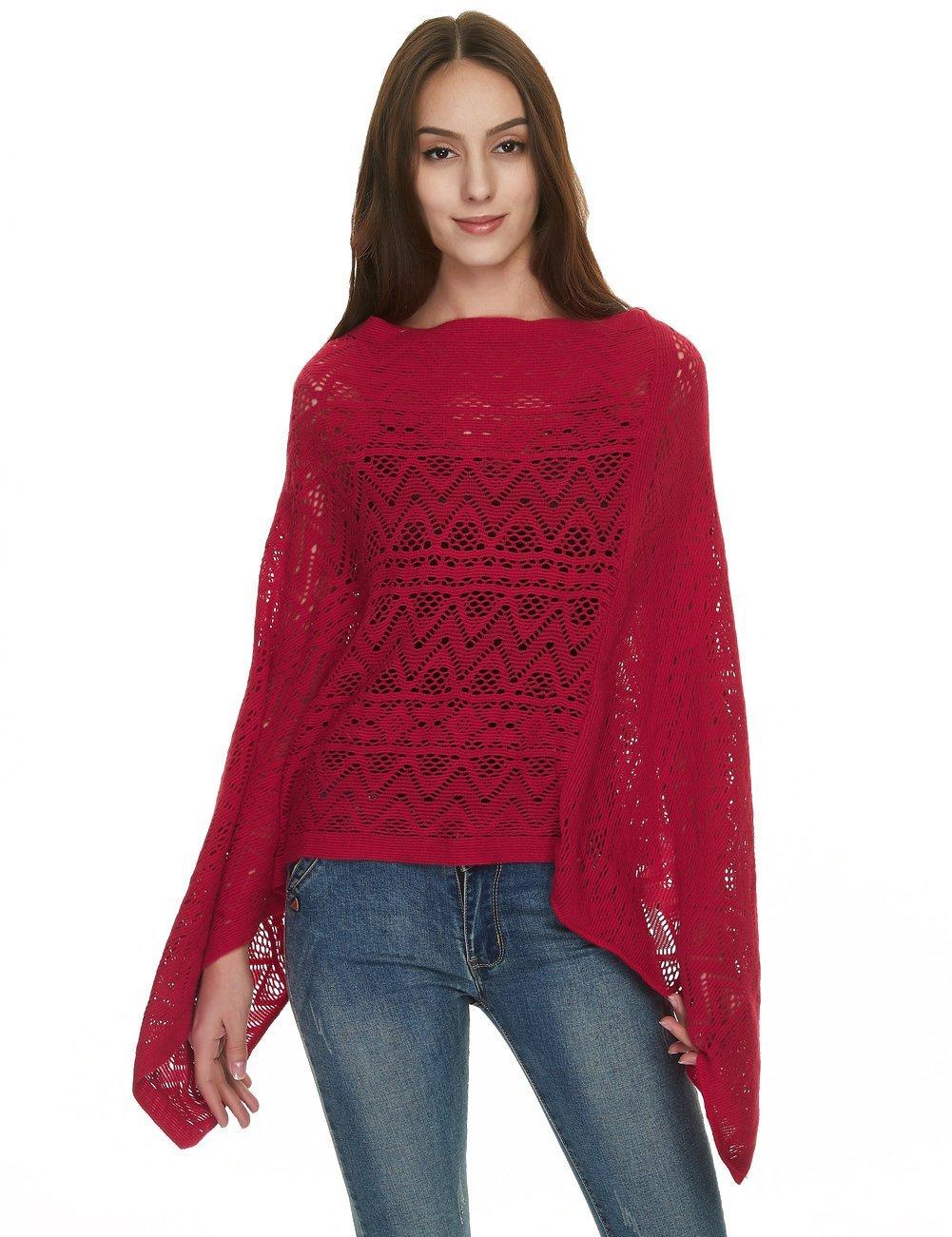 Ferand Women's Asymmetrical Crochet Poncho Tops in Multi-Way Neck Style One Size Beige