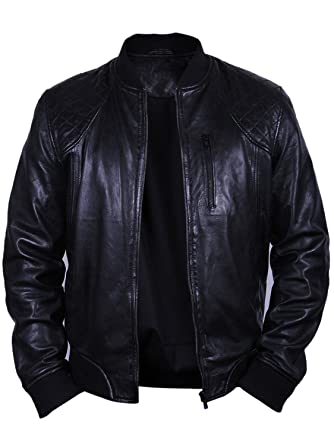 1726515e8579 UK Men s All Leather Vintage Biker Jacket Black Summer Retro Style Bomber  Jacket (XSmall)