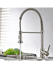 Fapully Spring Swivel Vessel Single Handle&Hole Kitchen Sink Faucet with Sprayer Brushed Nickel Finished