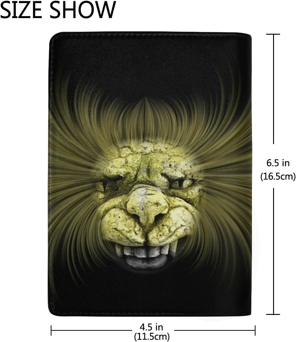 Horror Lion Real Leather Passport Holder Wallet Case Cover for Men Women