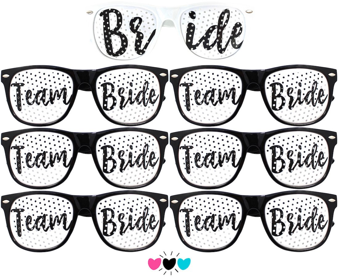 Team Bride Party Glasses - Novelty Sunglasses for Weddings, Bachelorette Parties and Bridal Showers (7pc Set, Black (Font #2)) by Bachelorette to Bride