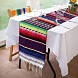 Xplanet Mexican Table Runner 14 x 84 inch Colorful Striped Mexican Serape Blanket Party Wedding Decorations Fringe…