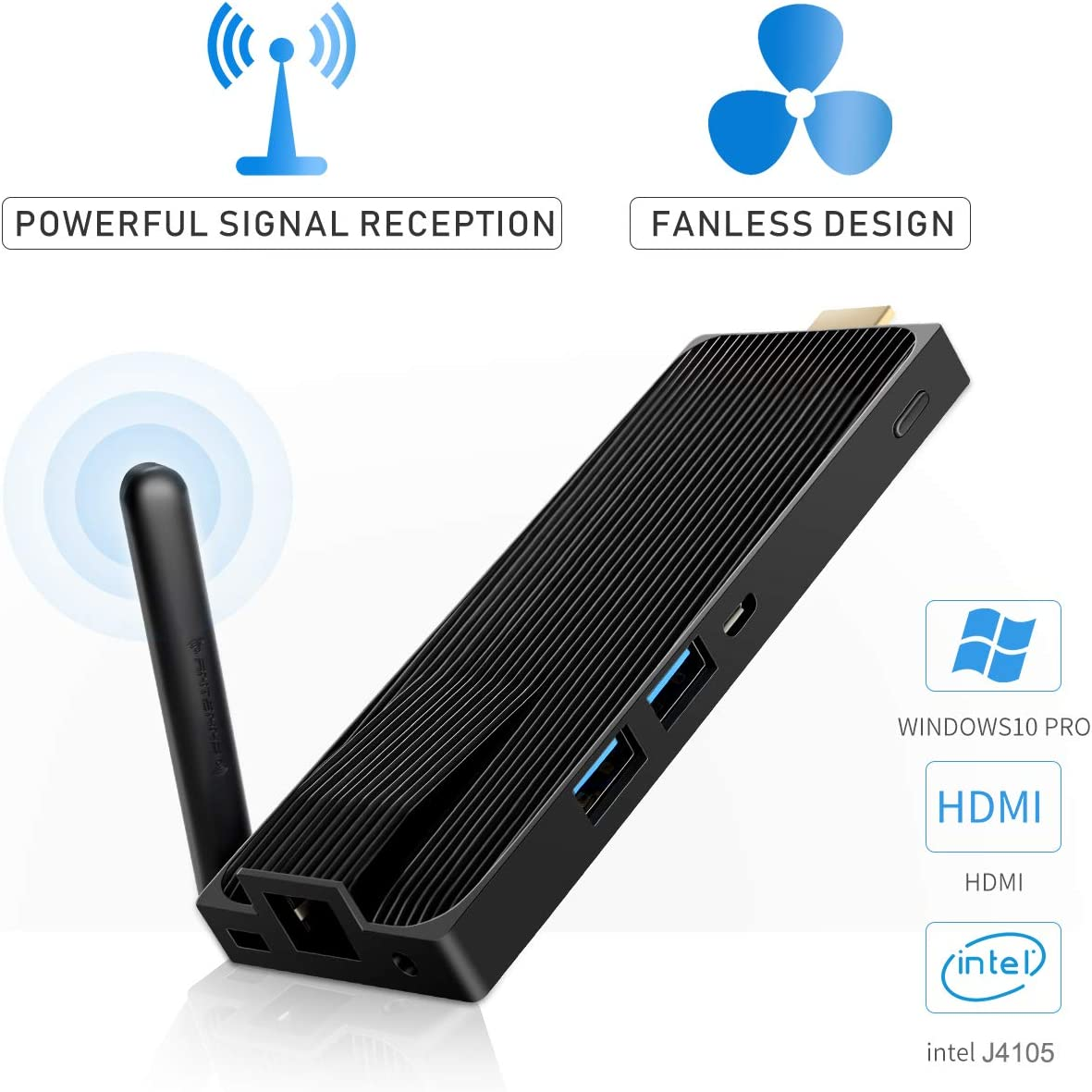 Mini PC MeLE PC Stick Windows 10 Pro Intel Celeron J4105 Fanless Mini PC 4GB 64GB eMMC Support 4K HD,2.4G/5G WiFi,Gigabit Ethernet,BT 4.2