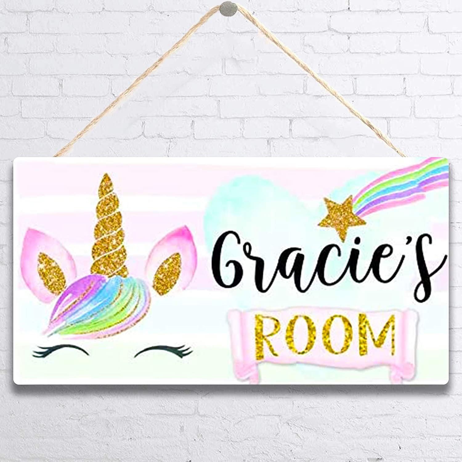 MUPIANLX Personalised Rainbow Unicorn Face Door Sign & Customized Gift for Baby-Decor for Girls, Pink Gold Star Bedroom Nursery Wall Wooden Sign Décor -5x10 inches