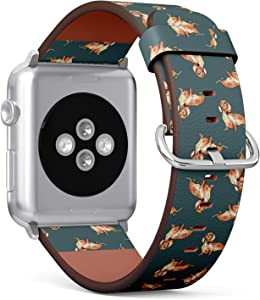 Compatible with Big Apple Watch 42mm & 44mm (All Series) Leather Watch Wrist Band Strap Bracelet with Stainless Steel Clasp and Adapters (Dachshund Dog Watercolor)