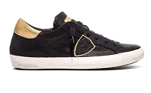 Donna Low Classic Suede Oro Philippe Pelle Model Sneaker Nere qwRIIE