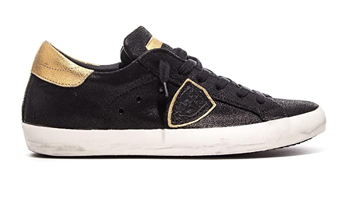 7f0332e515 Philippe Model Classic Low Sneaker Woman Black and Gold Leather ...