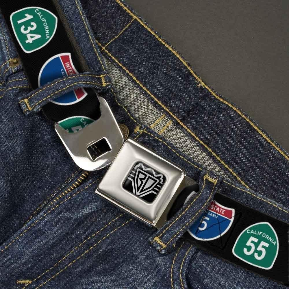 1.5 Wide-32-52 Inches Highway Signs Black Buckle-Down Unisex-Adults Seatbelt Belt California XL