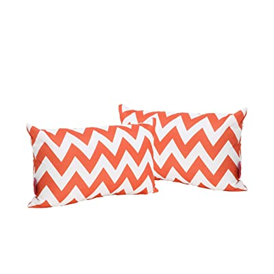 Christopher Knight Home Jerry Outdoor Orange and White Chevron Water Resistant Rectangular Throw Pillow (Set of 2) : Garden & Outdoor