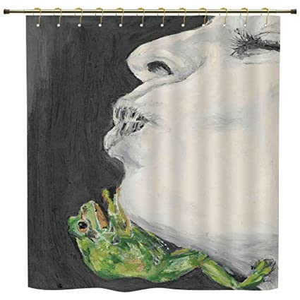 Shower CurtainCountry DecorMod Drawing Of A Lady Kissing The Frog Prince Soul