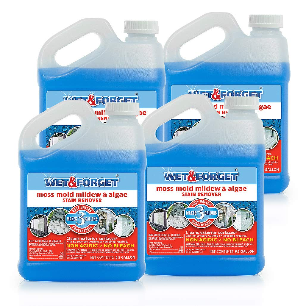 Wet and Forget Moss, Mold, Mildew & Algae Stain Remover.5 Gallon Concentrate Makes 3 Gallons - 4 Pack
