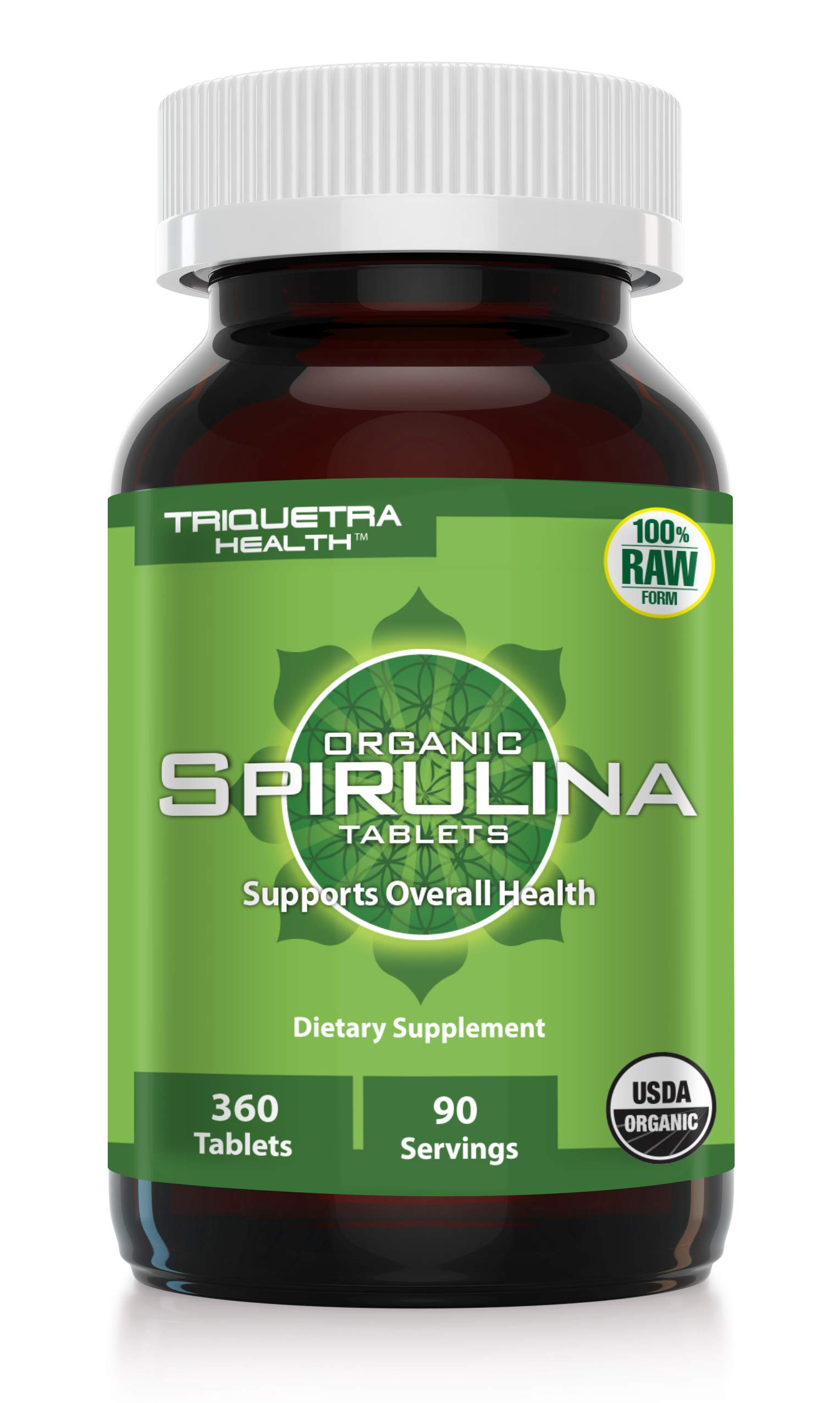 Organic Spirulina: 360 Tablets - 4 Organic Certifications - Raw & Clean Certified - Vegan Farming Process, Non-Irradiated, Max Nutrient Density (360 Count)